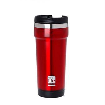 Εικόνα της Ανοξείδωτο θερμός για καφέ ECOlife Red 420ml (plastic outside)