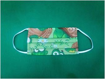 Picture of Παιδική μάσκα προστασίας πολλαπλών χρήσεων με διπλό ύφασμα, MASKup Croko - 100% βαμβάκι