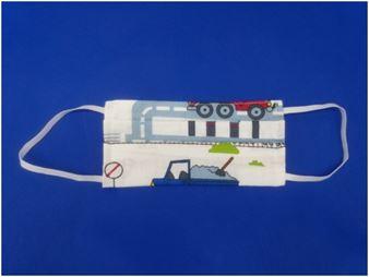 Picture of Παιδική μάσκα προστασίας πολλαπλών χρήσεων με διπλό ύφασμα, MASKup BlueTruck - 100% βαμβάκι