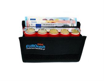 Εικόνα της Eurocash mini 5RD -  Επαγγελματικό πορτοφόλι και κόκκινη κερματοθήκη 5 θέσεων με μεταλλική λάμα συγκράτησης νοσμισμάτων